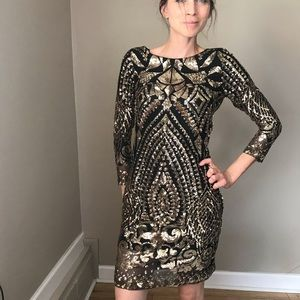 Gianni Bini Black Gold Sequins Fitted Sheath Dress